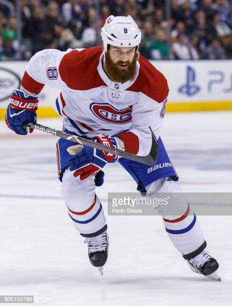 Jordie Benn of the Montreal Canadiens skates against the Toronto Maple Leafs during the second period at the Air Canada Centre on March 17 2018 in...