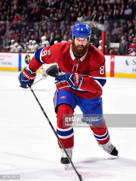 Jordie Benn of the Montreal Canadiens skates against the Vegas Golden Knights during the NHL game at the Bell Centre on November 7 2017 in Montreal...