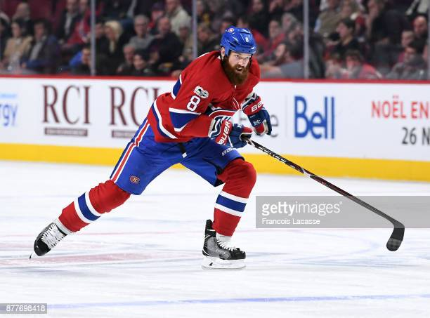 Jordie Benn of the Montreal Canadiens skates againstf the Minnesota Wild in the NHL game at the Bell Centre on November 9 2017 in Montreal Quebec...