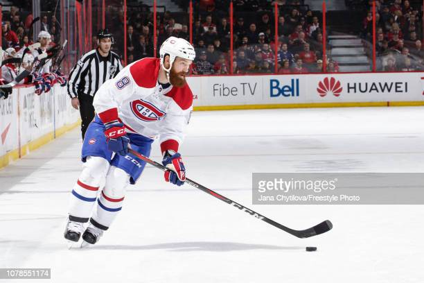 Jordie Benn of the Montreal Canadiens skates with the puck against the Ottawa Senators at Canadian Tire Centre on December 6 2018 in Ottawa Ontario...