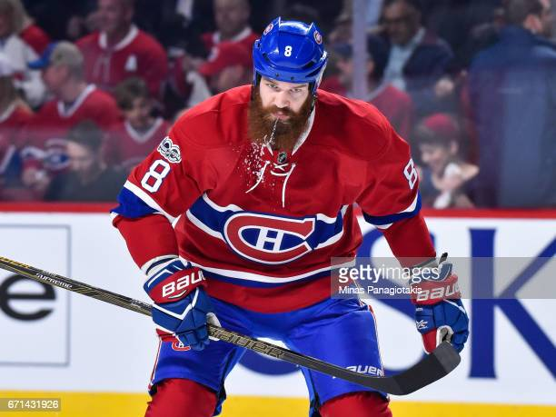 Jordie Benn of the Montreal Canadiens spits in Game Five of the Eastern Conference First Round during the 2017 NHL Stanley Cup Playoffs against the...