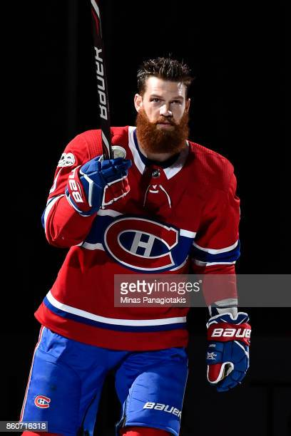 Jordie Benn of the Montreal Canadiens takes to the ice during the pre game ceremony prior to the NHL game against the Chicago Blackhawks at the Bell...