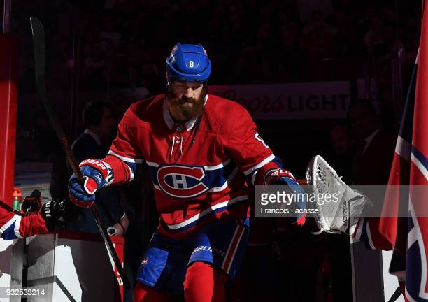 Jordie Benn of the Montreal Canadiens takes to the ice prior the NHL game against the Dallas Stars at the Bell Centre on March 13 2018 in Montreal...