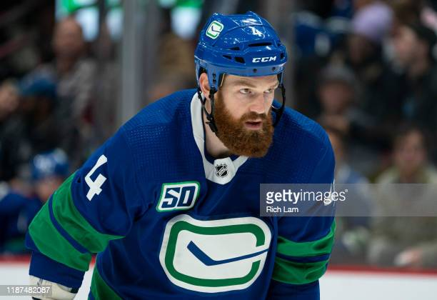 Jordie Benn of the Vancouver Canucks during NHL action against the St. Louis Blues at Rogers Arena on November 5, 2019 in Vancouver, Canada.