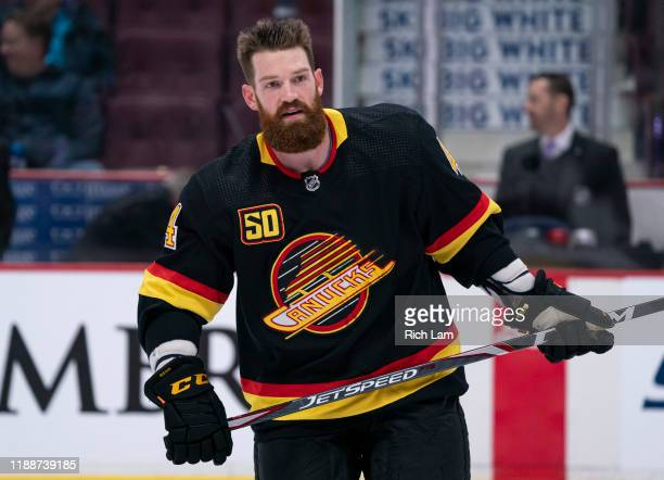 Jordie Benn of the Vancouver Canucks during the pre-game warm up prior to NHL action against the Colorado Avalanche at Rogers Arena on November 16,...