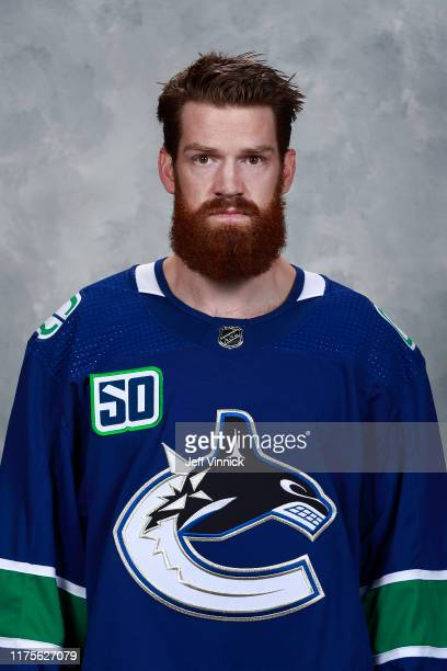 Jordie Benn of the Vancouver Canucks poses for his official headshot for the 2019-2020 season on September 12, 2019 at Rogers Arena in Vancouver,...