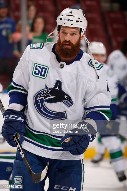 Jordie Benn of the Vancouver Canucks skates on the ice during warm ups prior to the start of the game against the Florida Panthers at the BB&T Center...