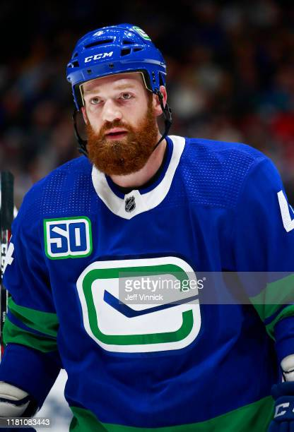 Jordie Benn of the Vancouver Canucks skates up ice during their NHL game against the Philadelphia Flyers at Rogers Arena October 12, 2019 in...