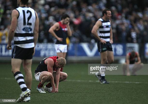 Jordie McKenzie of the Demons looks on after their loss after the round 19 AFL match between the Geelong Cats and the Melbourne Demons at Skilled...