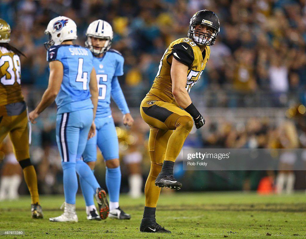 Jordie Tripp #58 of the Jacksonville Jaguars reacts after Ryan Succop #4 of the Tennessee Titans misses a field goal during the second half of the game against the Jacksonville Jaguars at EverBank Field on November 19, 2015 in Jacksonville, Florida.