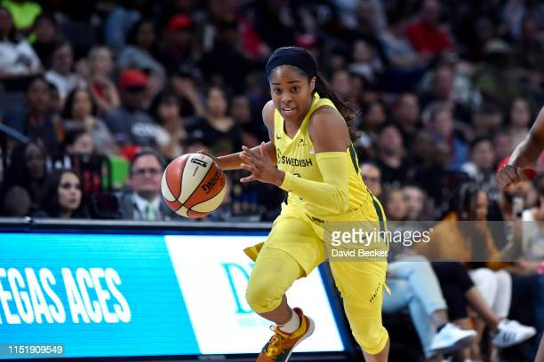 Jordin Canada of the Seattle Storm handles the ball against the Las Vegas Aces on June 25 2019 at the Mandalay Bay Events Center in Las Vegas Nevada...