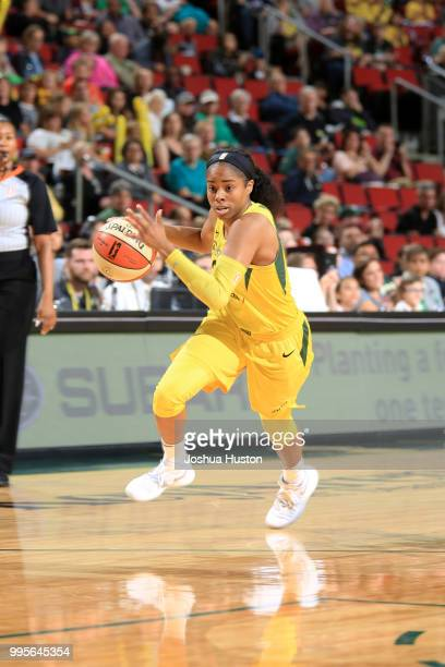 Jordin Canada of the Seattle Storm handles the ball against the Los Angeles Sparks on July 10 2018 at Key Arena in Seattle Washington NOTE TO USER...
