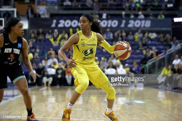 Jordin Canada of the Seattle Storm handles the ball against the New York Liberty on July 3 2019 at Alaska Airlines Arena in Seattle Washington NOTE...