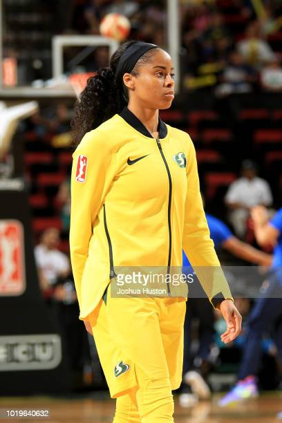 Sneakers of Breanna Stewart of the Seattle Storm on August 19 2018 at KeyArena in Seattle Washington NOTE TO USER User expressly acknowledges and...