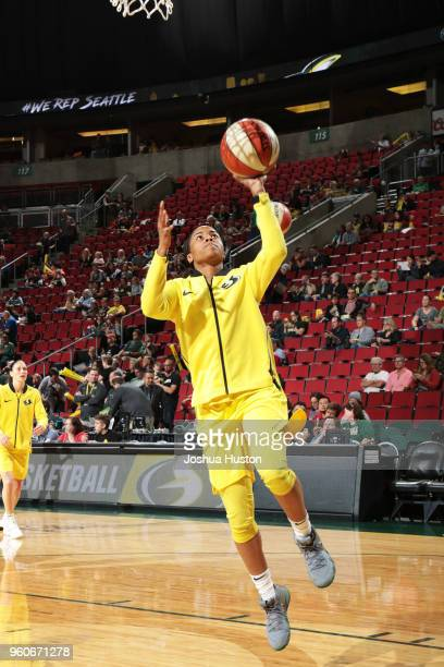 Jordin Canada of the Seattle Storm shoots the ball before the game against the Phoenix Mercury on MAY 20 2018 at KeyArena in Seattle Washington NOTE...