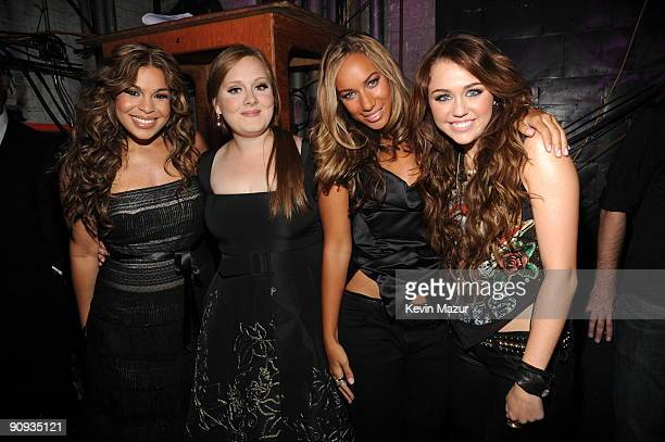 Jordin Sparks Adele Leona Lewis and Miley Cyrus backstage at Brooklyn Academy of Music on September 17 2009 in New York New York