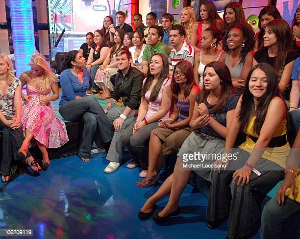 Jordin Sparks and Blake Lewis during Jordin Sparks Blake Lewis and Daddy Yankee Visit MTVs' 'TRL' May 30 2007 at MTV Studios in New York City New...
