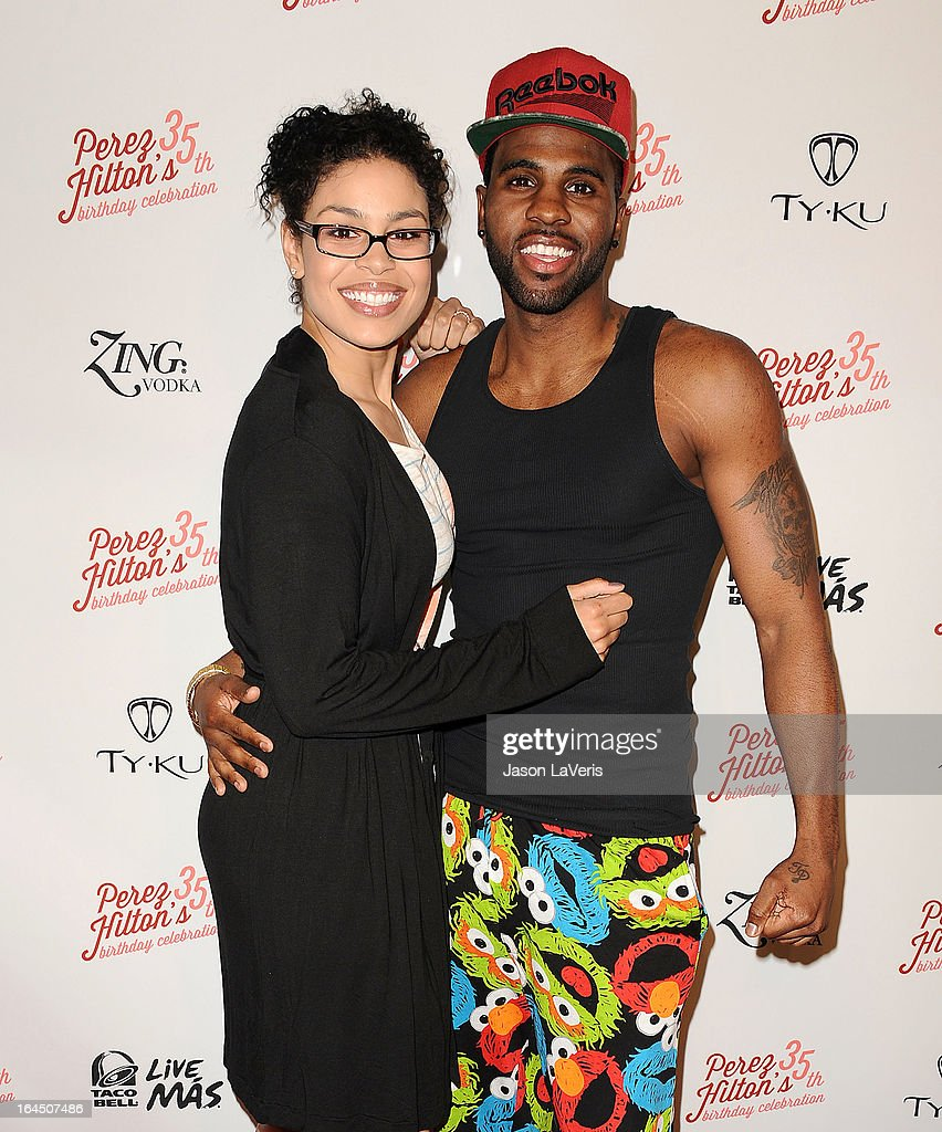 Jordin Sparks and Jason Derulo attend Perez Hilton's 35th birthday party at El Rey Theatre on March 23, 2013 in Los Angeles, California.