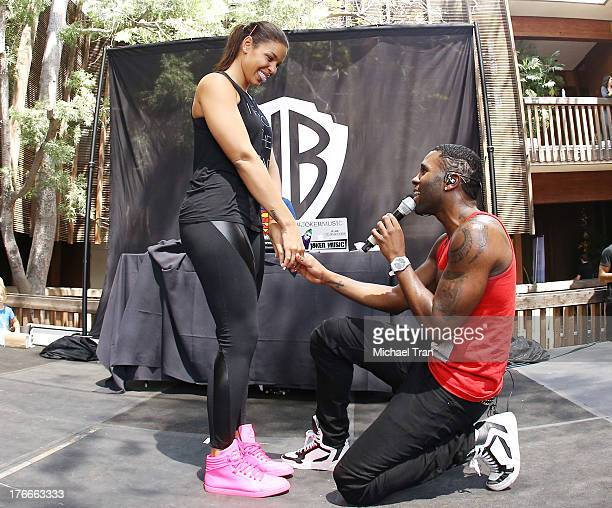 Jordin Sparks and Jason Derulo perform onstage at the Warner Bros Records Summer Sessions held at Warner Bros Records outdoor patio on August 16 2013...