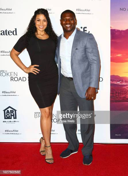 Jordin Sparks and LaDainian ÒLTÓ Tomlinson attend the screening of Entertainment Studios' God Bless The Broken Road at Silver Screen Theater at the...
