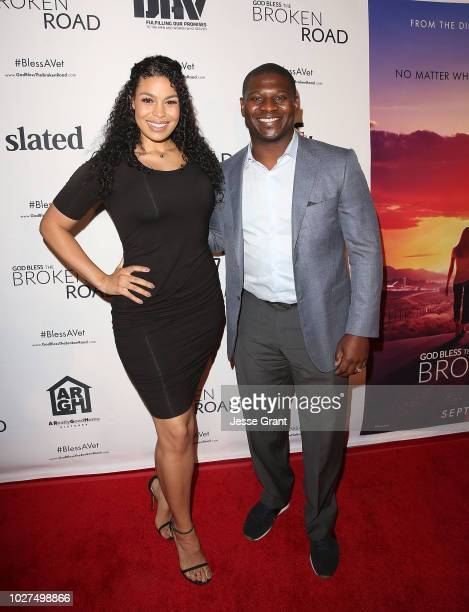 Jordin Sparks and LaDainian Tomlinson attend the God Bless The Broken Road Premiere at Silver Screen Theater at the Pacific Design Center on...