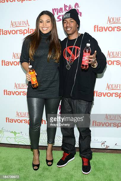 Jordin Sparks and Nick Cannon attend the Aquafina FlavorSplash Launch Party With Austin Mahone Nick Cannon at Sony Pictures Studios on October 15...