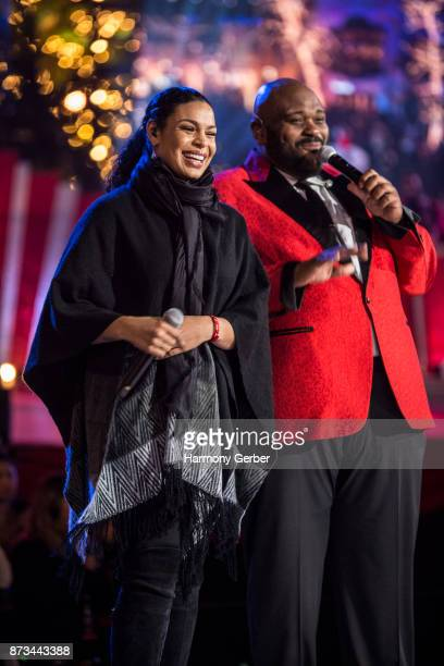 Jordin Sparks and Ruben Studdard perform the California Christmas at The Grove on November 12 2017 in Los Angeles California