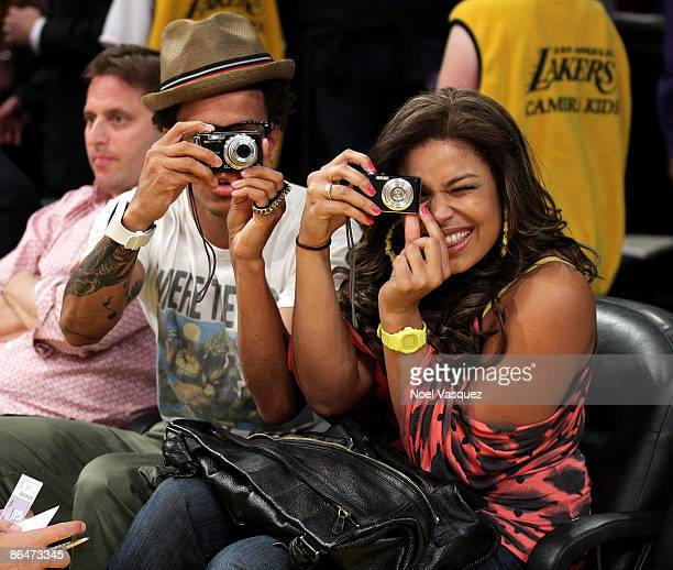 Jordin Sparks and Steph Jones attend the Los Angeles Lakers vs Houston Rockets game at Staples Center on May 6 2009 in Los Angeles California