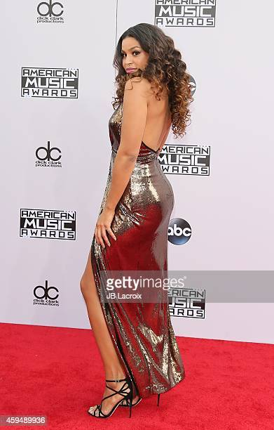 Jordin Sparks attends the 2014 American Music Awards at Nokia Theatre LA Live on November 23 2014 in Los Angeles California