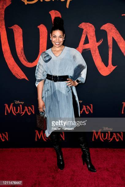 "Jordin Sparks attends the premiere of Disney's ""Mulan"" at Dolby Theatre on March 09, 2020 in Hollywood, California."