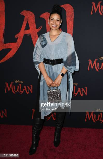 Jordin Sparks attends the premiere of Disney's Mulan on March 09 2020 in Hollywood California