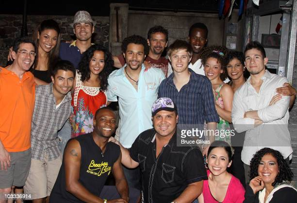 Jordin Sparks Corbin Bleu and Lucas Grabeel pose with the cast backstage at In The Heights on Broadway at the Richard Rodgers Theatre on August 10...