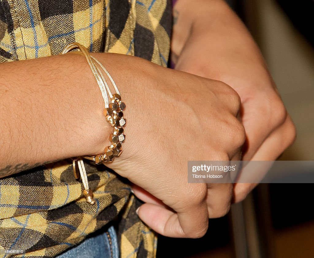 Jordin Sparks, jewelry detail, attends a fan meet and greet to celebrate her new album 'Right Here, Right Now' at Glendale Galleria on August 14, 2015 in Glendale, California.