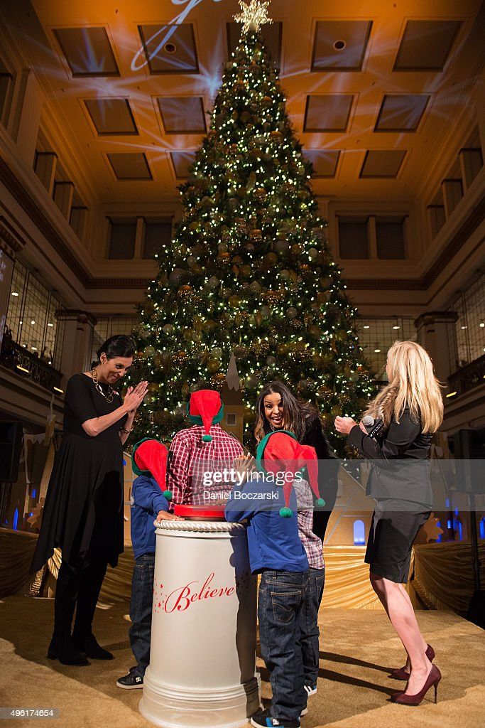 Jordin Sparks, Macy's on State Street Store Manager Kim Groth, special Make-A-Wish family and Macy's Chief Marketing Officer Martine Reardon kick off the holiday season by lighting Macy's Great Tree on November 7, 2015 in Chicago, Illinois.