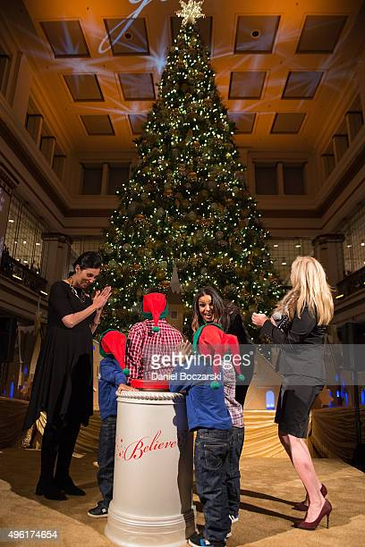 Jordin Sparks Macy's on State Street Store Manager Kim Groth special MakeAWish family and Macy's Chief Marketing Officer Martine Reardon kick off the...