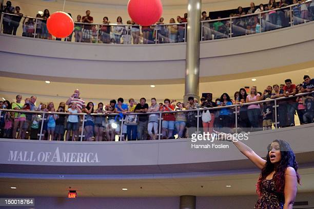 Jordin Sparks performs during a visit to the Mall of America on August 8 2012 in Bloomington Minnesota