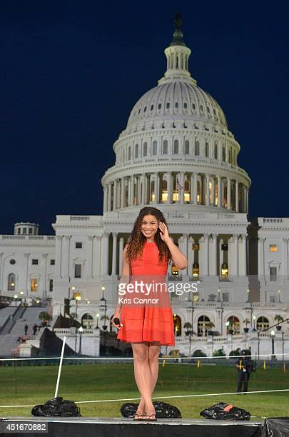 Jordin Sparks performs during PBS's '2014 A Capitol Fourth' Concert Rehearsal at US Capitol West Lawn on July 3rd 2014 in Washington DC
