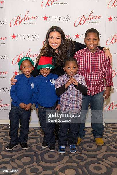 Jordin Sparks visits with special MakeAWish family to kick off the Macy's Believe Campaign during 108th annual Great Tree Lighting at Macy's on State...