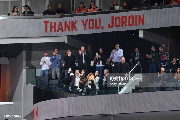 Jordin Tootoo is honoured during the game between the of the Edmonton Oilers and the Nashville Predators on October 20 2018 at Rogers Place in...