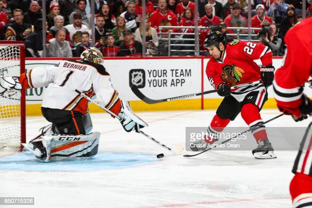 Jordin Tootoo of the Chicago Blackhawks chases the puck toward goalie Jonathan Bernier of the Anaheim Ducks in the second period at the United Center...