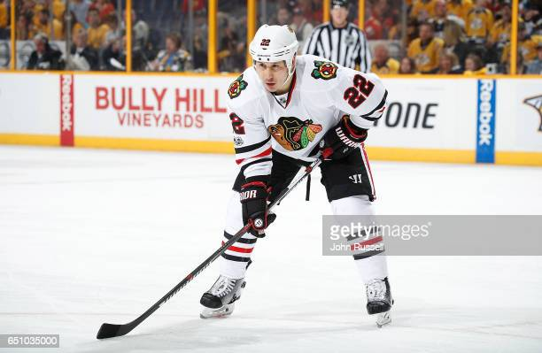 Jordin Tootoo of the Chicago Blackhawks skates against the Nashville Predators during an NHL game at Bridgestone Arena on March 4 2017 in Nashville...