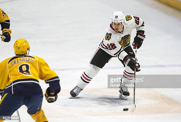 Jordin Tootoo of the Chicago Blackhawks skates during a NHL game against the Nashville Predators at Bridgestone Arena on December 29 2016 in...