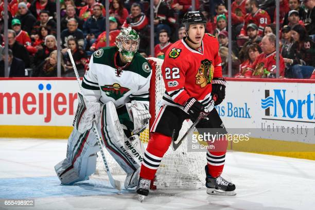 Jordin Tootoo of the Chicago Blackhawks stands in position in front of goalie Darcy Kuemper of the Minnesota Wild in the first period at the United...