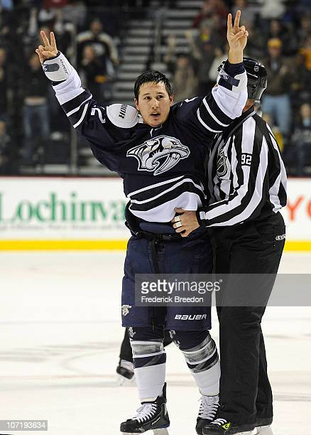 Jordin Tootoo of the Nashville Predators reacts after a fight against a New York Ranger on November 27 2010 at the Bridgestone Arena in Nashville...