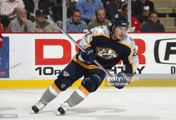 Jordin Tootoo of the Nashville Predators skates against the Detroit Red Wings during their NHL game at Joe Louis Arena on March 14, 2007 in Detroit,...