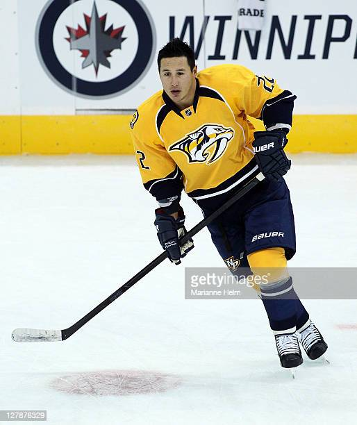 Jordin Tootoo of the Nashville Predators skates on the ice during warmup before a game against the Winnipeg Jets in preseason NHL action at the MTS...