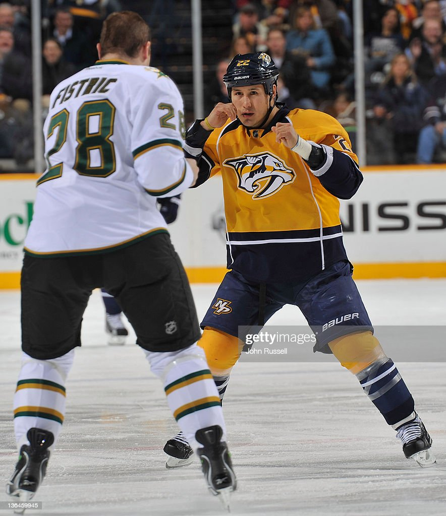 Jordin Tootoo #22 of the Nashville Predators squares off against Mark Fistric #28 of the Dallas Stars during an NHL game at the Bridgestone Arena on January 05, 2012 in Nashville, Tennessee.