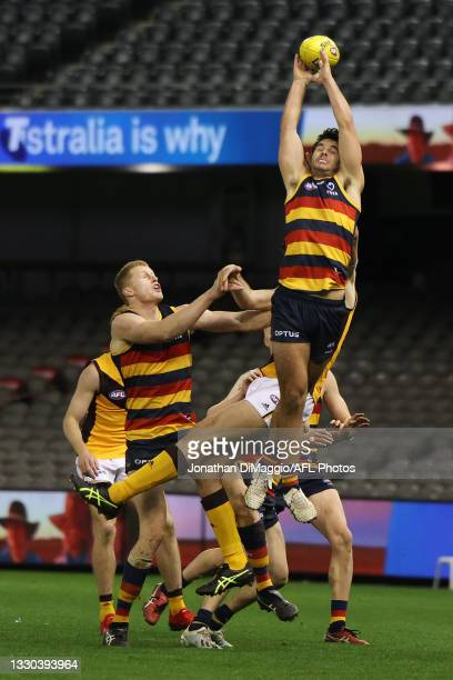 Jordon Butts of the Crows with a high leap during the round 20 AFL match between Adelaide Crows and Hawthorn Hawks at Marvel Stadium on July 24, 2021...