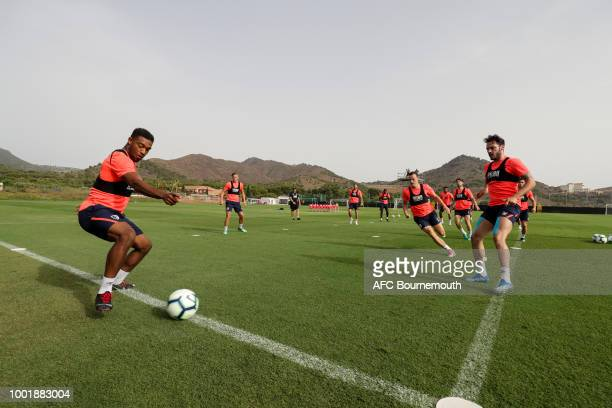 Jordon Ibe and Adam Smith of Bournemouth on July 19 2018 in La Manga Spain