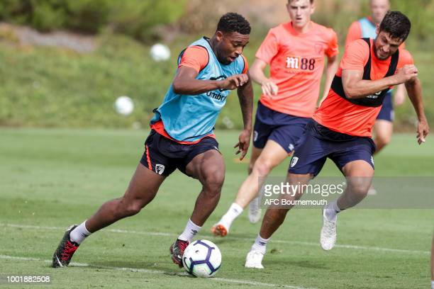Jordon Ibe and Andrew Surman of Bournemouth during preseason training on July 19 2018 in La Manga Spain
